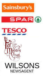 Logos for Blast off books, Linlithgow Gazette, Sainsbury's, SPAR, and Tesco